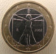 1 Euro Italien - itruvianischer Mensch, Leonardo da Vinci, Münze, Italien, Euro…