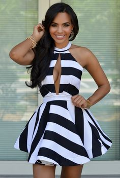 Chic Couture Online - Eliana Black White Stripes Skater Dress, $65.00 (http://www.chiccoutureonline.com/eliana-black-white-stripes-skater-dress/)