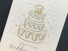 Paper cut card with gold, glitter and diamanté's