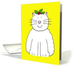 Happpy Christmas white cat with holly on her head. card