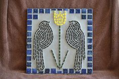 Mosaic Decorative Tile Black Birds and Yellow by MosaicsByJoan, $40.00