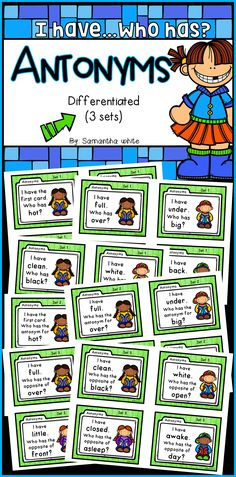 I have…Who has? is a great game to practice antonyms! Your students will enjoy learning opposites with this very popular activity! This download contains 3 sets of 32 cards (96 cards total) for differentiated practice. Directions are also included.