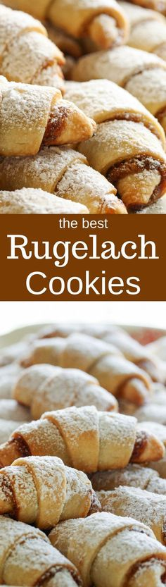 Rugelach Rugelach Cookies – Cream cheese dough is rolled with sweet fillings such as preserves, nuts, chocolate, and/or raisins then dusted with powdered sugar – a holiday treat Holiday Cookies, Holiday Treats, Holiday Recipes, Köstliche Desserts, Delicious Desserts, Dessert Recipes, Holiday Baking, Christmas Baking, Polish Christmas