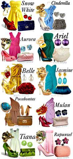 Disney princesses and their modern clothes