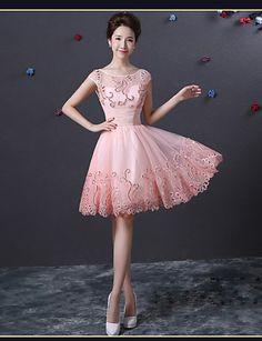 Sukienka - Cocktail Party - Pearl Różowy -Line Bateau Kolan Satyna 4184276 2016 – $69.99