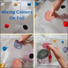 Invitation to mix colours on foil, a fun activity for toddlers and preschoolers.