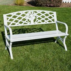 Belleze inch Outdoor Park Bench Garden Backyard Furniture Chair Porch Seat Steel Frame, White ** Learn more by visiting the image link. (This is an affiliate link) 0 Stone Garden Bench, Cast Iron Garden Bench, Teak Garden Bench, Wooden Garden Benches, Garden Seating, Outdoor Benches, Backyard Seating, Backyard Ideas, Backyard Chairs
