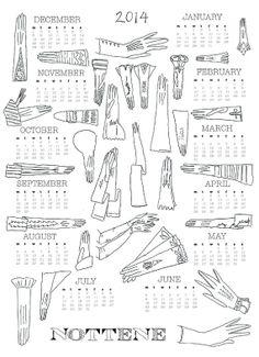 Glove 2014 Calendar Print by nottene on Etsy http://nottene.etsy.com