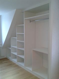 We can design wardrobes to the most awkwardly shaped rooms, for example sloped ceiling areas or reduced ceiling height areas, making sure they sit flush with the walls and look perfect. This also ensures we use the space optimally, making the most of the available room and designing it so it looks stylish but also ... #wardrobedesign #wardrobeideas