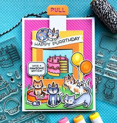 The Queen's Scene: Lawn Fawn Happy Purrthday Cat Card by Lynn Put - Birthday Before 'n Afters - Cat Cards, Kids Cards, Greeting Cards, Cat Birthday, Birthday Cards, Lawn Fawn Stamps, Pop Up, Scrapbook Cards, Scrapbooking