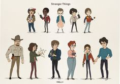 Stranger things  Eleven, Dustin, Lucas, Mike, Will Hopper, Joyce, Jonathan, Barb, Nancy, Steve, character design
