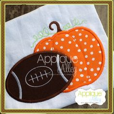 FOOTBALL AND PUMPKIN Applique Shirt Personalized