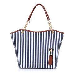 Stylish Striped and Metallic Chains Design Shoulder Bag For Women, BLUE in Shoulder Bags   DressLily.com