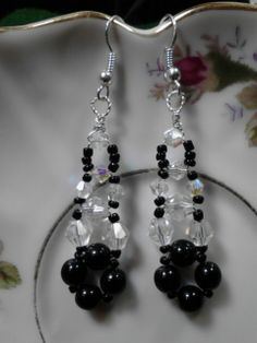 Hand Woven Crystal and Glass beaded Earrings.