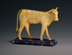 ca. 664–332 BCE, The APIS BULL one of the most important animal deities of ancient Egypt; veneration goes back to Dynasty I. A live apis bull was stabled in the capital, Memphis. Ivory (base new). Dynasty 26–30.