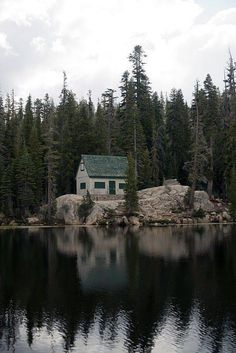 Lonely lake cabin