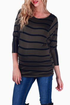 04ee10f59c2 Green Black Striped 3 4 Sleeve Maternity Top  maternity  fashion Stylish  Maternity