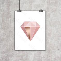 Pink rose gold Diamond printable modern от DigitalPrintArtShop