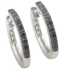 Brand New 0.25 Carat Round Brillaint Cut Real Black Diamond Hoop Earring, 925 Sterling Silver *** Visit the image link more details.