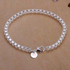 Women Fashion Jewelry 925 Sterling Silver Plated Cuff Charm Chain Bracelet