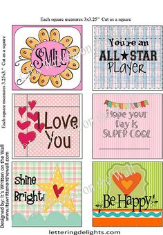 48 Free Lunchbox Notes:  Smile, You're an ALL STAR Player, I love you, Hope your day is Super Cool, Shine Bright, Be Happy