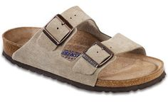 DESCRIPTION Our iconic two-strap style, the Arizona, is known for being the epitome of comfort. Both straps have buckles for a fantastic fit. Offered in soft footbed in Taupe Suede. Made in Germany. O