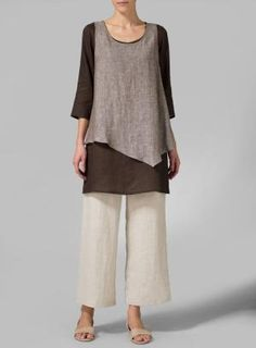Linen Brown Double-Layer Wrap Top - Plus Size by valarie