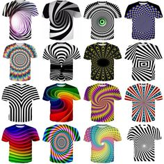 eff1048c6d317 3D Hypnosis Swirl Print Mens Womens Casual T-Shirt Short Sleeve Graphic Tee  Tops Casual