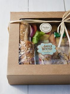 gourmet box lunches - Gold Box Lunch Sandwich Box: any Specialty sandwich served with a small Traditional green salad, fresh fruit cup and a brownie or cookie. Salad Box: Any House, Bistro or Traditional salad with meat accompanined by a fresh fruit cup, Cafe Menu, Cafe Food, Deli Food, Burger Bar, Food Truck, Menue Design, Salad Box, Fruit Salad, Fruit Kabobs