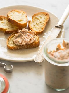 Salmon Rillettes - spoon fork bacon  Going to try replacing the creme fraiche with cream cheese...