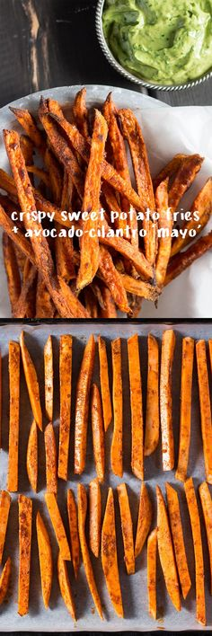 Make sweet fries crispy in the oven with two simple tricks. Serve with healthy avocado-cilantro mayo