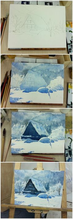 Snow covered villa A frame in the mountains. Water color step by step painting. ?????????? (Step Drawing People) #LandscapeWatercolor