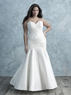 Stunning Mikado peeks out from under intricate beaded appliques on this strapless gown. Marchesa Wedding Dress, Sheath Wedding Gown, Bridal Wedding Dresses, Wedding Dress Styles, Bridal Style, Bridesmaid Dresses, Fit And Flare Wedding Dress, Parka, Allure Bridals