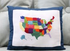 DIY Embroidered United States Pillow | Whimseybox
