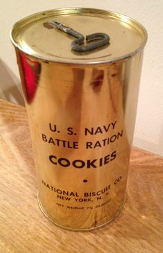 Original WW2 US Navy Battle Ration Cookies Tin Unopened Complete With Contents