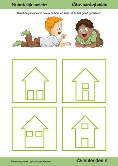 Citovaardigheden voor kleuters, kleuteridee.nl ,ruimtelijk inzicht huis , rekenen voor kleuters. Speech Language Therapy, Speech And Language, Kindergarten, Toddler Learning, Preschool Worksheets, Numeracy, Kids Rugs, Teaching, Index Cards