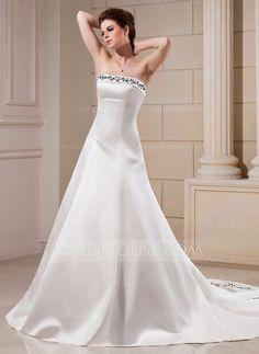 [€ 186.88] Corte A/Princesa Estrapless Cola capilla Satén Vestido de novia con Bordado Bordado (002000089)