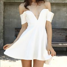 Sabo Skirt White Studded Skater Dress