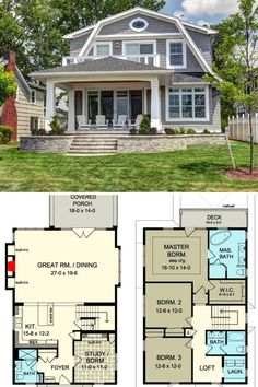 4-Bedroom 2-Story Country Cottage House Plan with Gambrel Roof (Floor Plan) Cottage Homes, Colonial Cottage, Cottage House Plans, Small House Plans, House Floor Plans, Gambrel Roof, Cedar Shingle Siding, Craftsman Exterior, Roof Styles