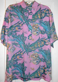 Vtg REYN SPOONER Hawaiian Reef Fish Pink Shirt~XL~Naked Girl Made Hawaii Label #REYNSPOONER #ButtonFront