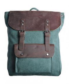 Contrast Canvas Backpack with Flap Closure - Bags & Accessories