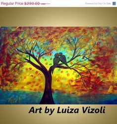 Abstract Original Painting Fall Tree Landscape Love by LUIZAVIZOLI, $261.00