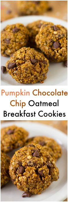 These Pumpkin Chocolate Chip Oatmeal Breakfast Cookies are cookies so healthy they can be eaten as breakfast! They're super tasty, gluten free and vegan!
