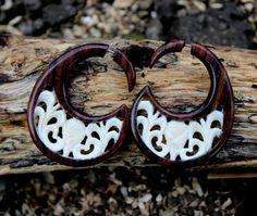 Fake Gauge Earrings White Bone wood Split Gauge by ANELAJADE