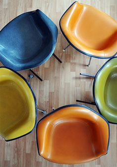 eames chairs in various colors