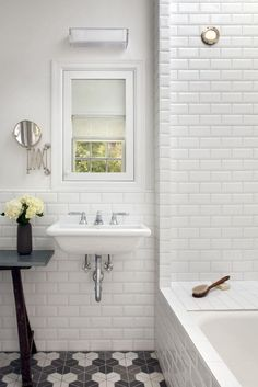 white beveled subway tiles & floor