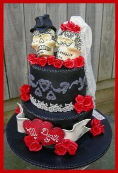 'Till Death ~ Gothic Skulls Wedding Cake - by MelSugarMama @ CakesDecor.com - cake decorating website