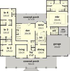One story floor plan, flip the kitchen, open the space, and tweak bathrooms