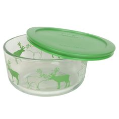 68299fecf7 Pyrex 7201 4 Cup Reindeer Glass Bowl and 7201PC Green Lid *** Find out