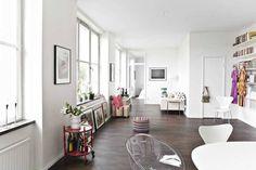 Open apartment with creative decor.